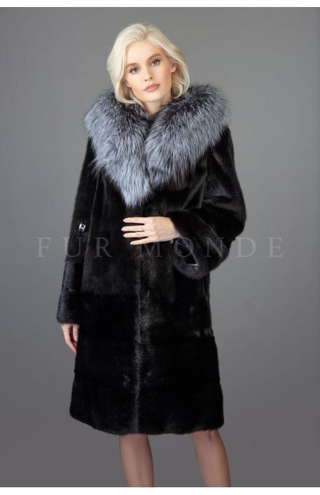 Норковая шуба с капюшоном из чернобурки 100 см 1171