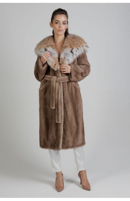 Норковая шуба 110 см с капюшоном из рыси  1388