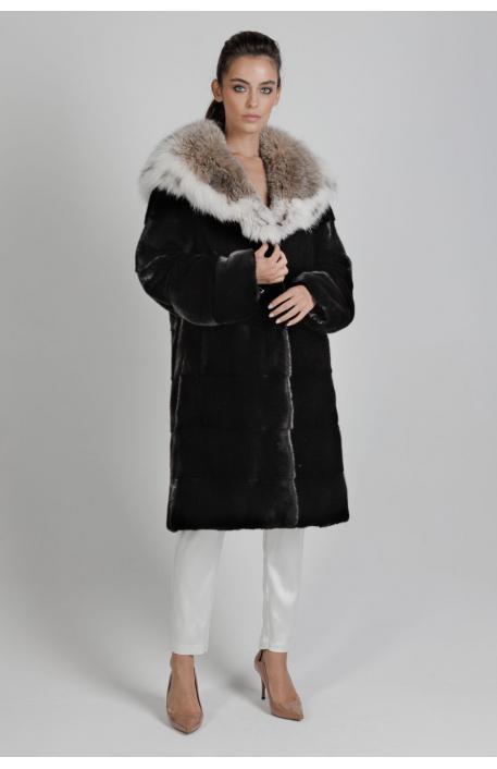 Норковая шуба с капюшоном из рыси  5600