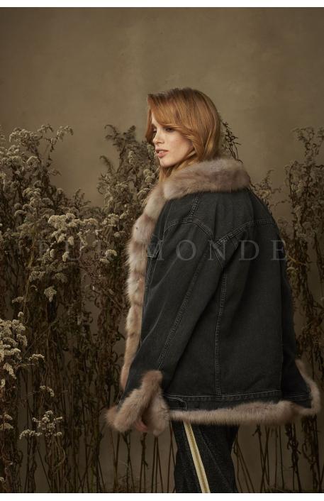 Джинсовая куртка с мехом куницы 347761
