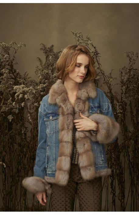 Джинсовая куртка с мехом куницы 357151