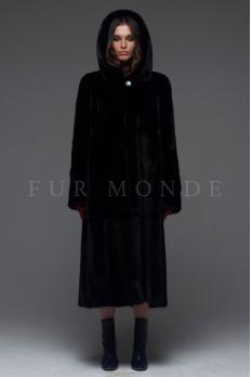 Норковая шуба с капюшоном черная 110 см 1185