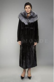 Норковая шуба с капюшоном из чернобурки 135 см 1176
