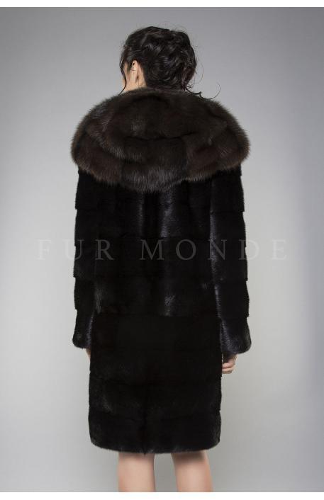 Норковая шуба с капюшоном из куницы черная 1153