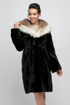 Норковая шуба 100 см с капюшоном из рыси 1250