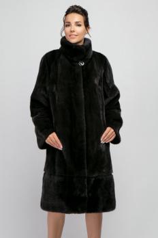 Норковая шуба 100 см тёмно-серого цвета 1251