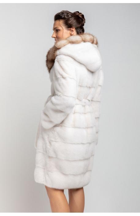 Норковая шуба 100 см с капюшоном из куницы 1350