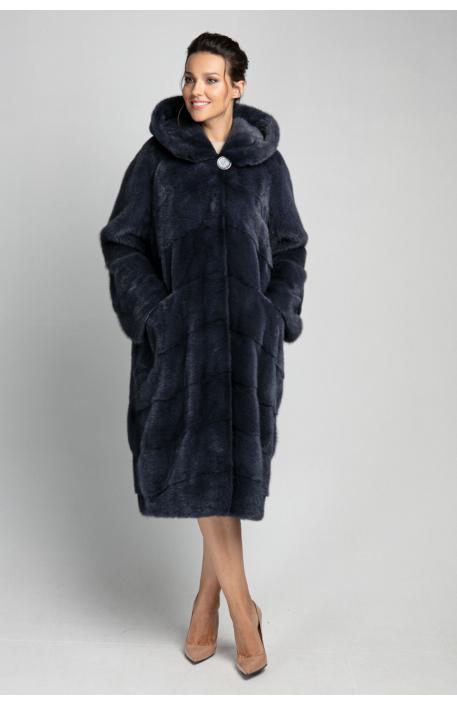 Норковая шуба 110 см тёмно синего цвета  с капюшоном 1401