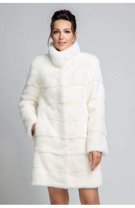 Норковая шуба 90 см белого цвета  1228