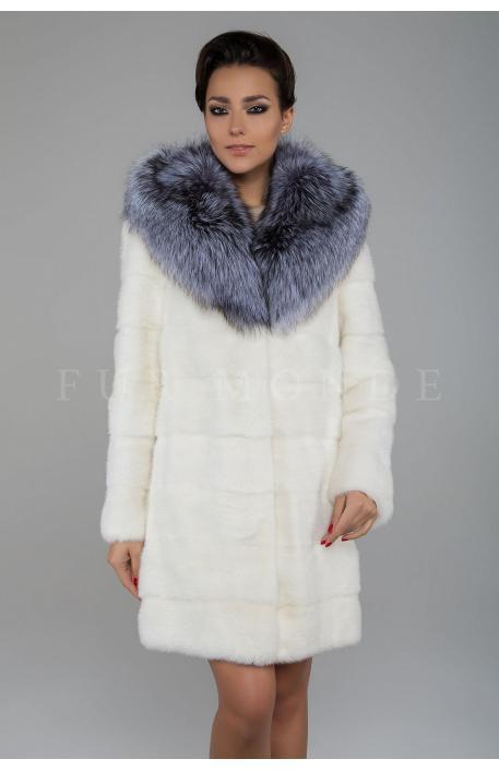 Норковая шуба с капюшоном из чернобурки 1107