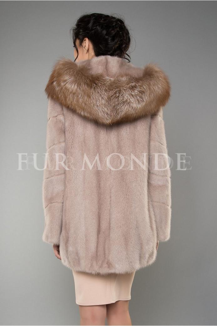 Норковая шуба с капюшоном из лисы цвета пудры 1158