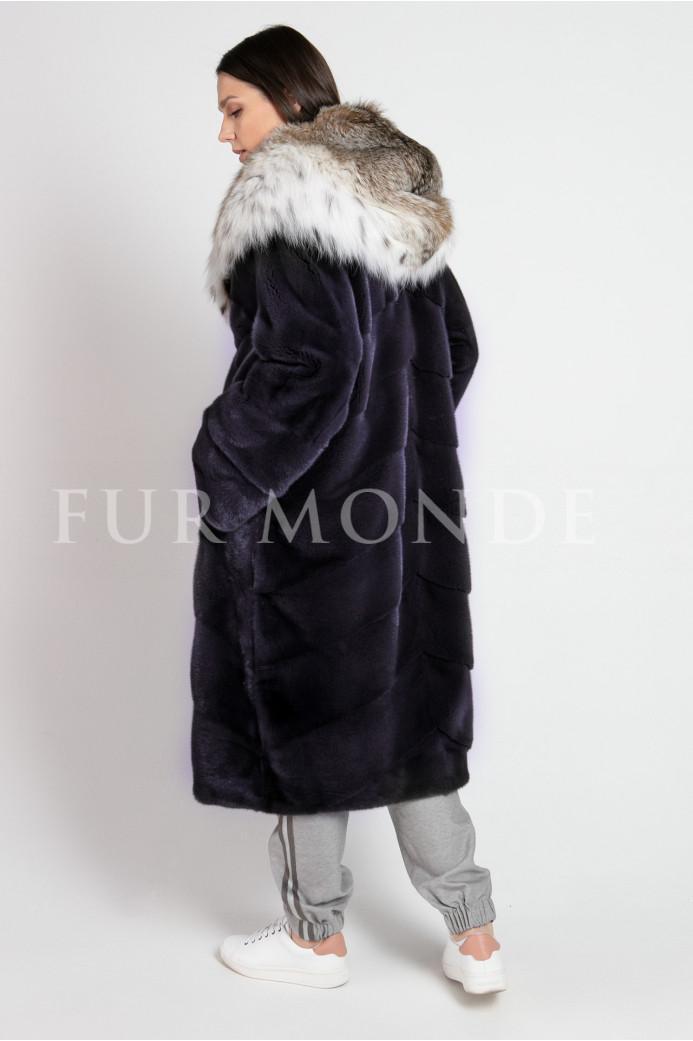 Норковая шуба 110 см с капюшоном из меха рыси 1273
