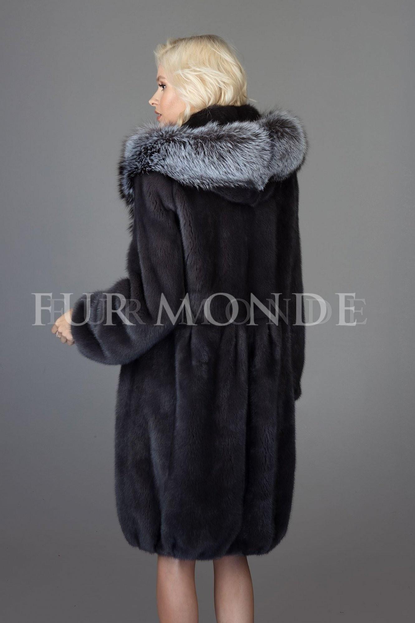 Норковая шуба 100 см с капюшоном из чернобурки 1172
