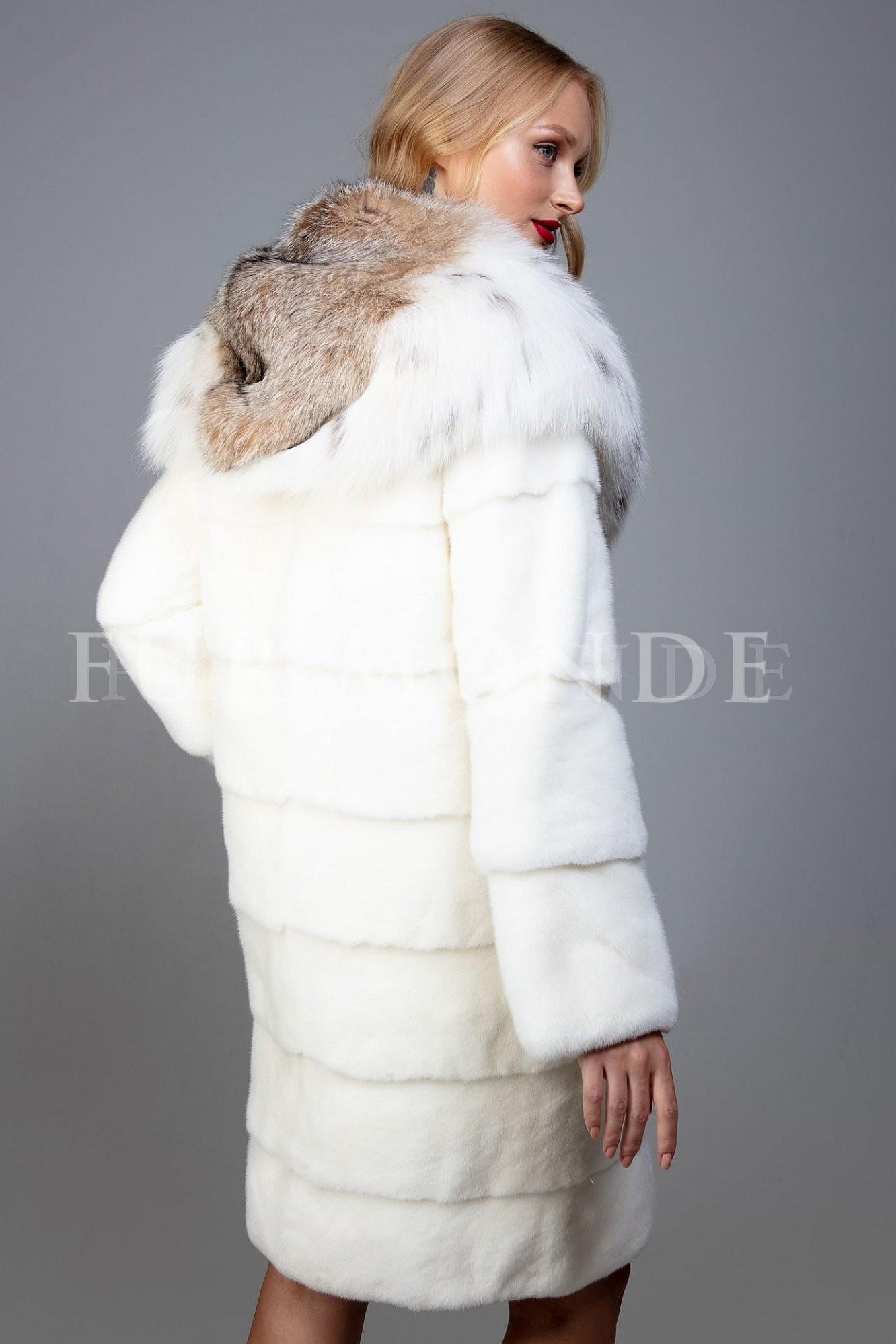 Норковая шуба с капюшоном из рыси 1167
