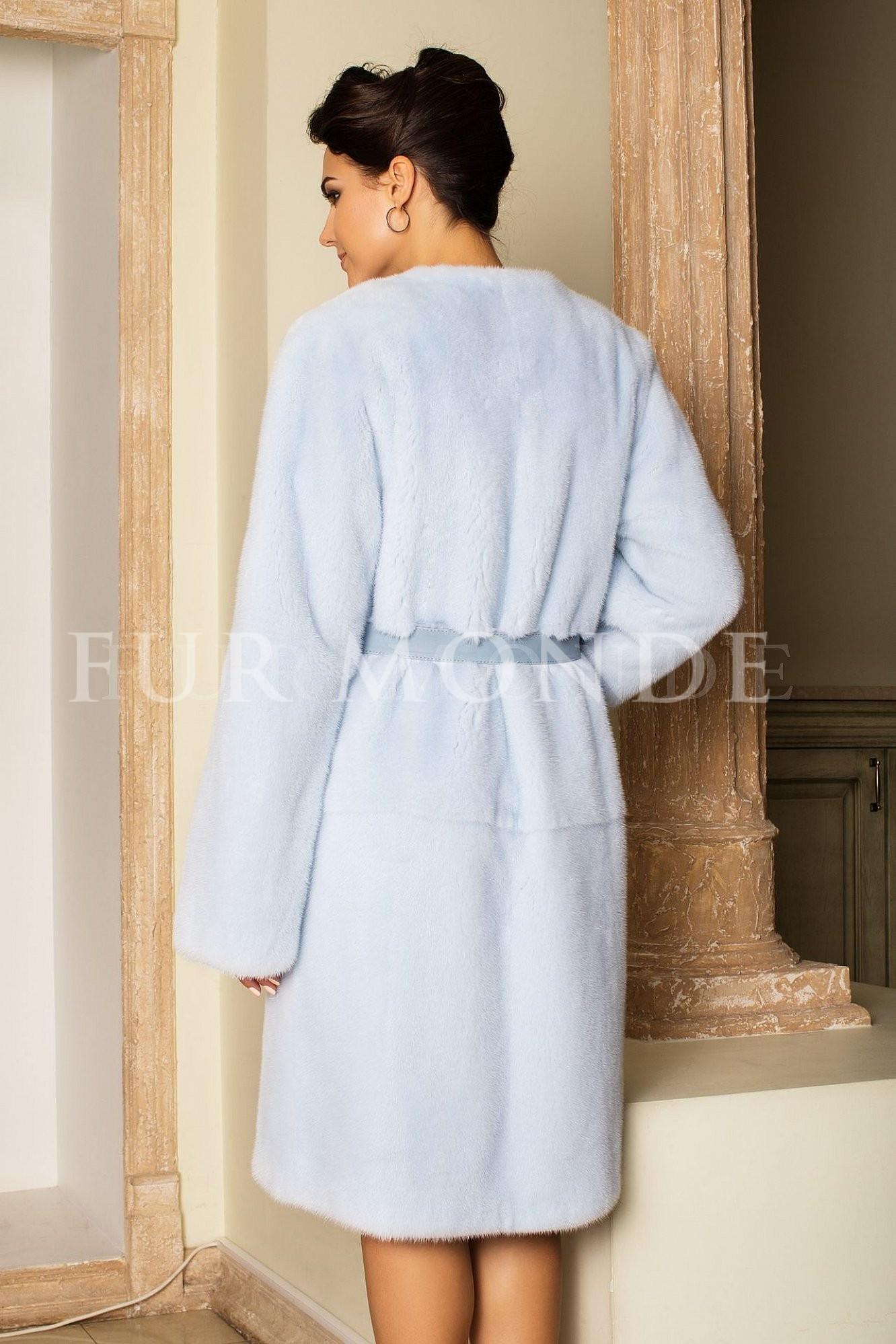 Норковая шуба 100 см голубая воротник Шанель 2123