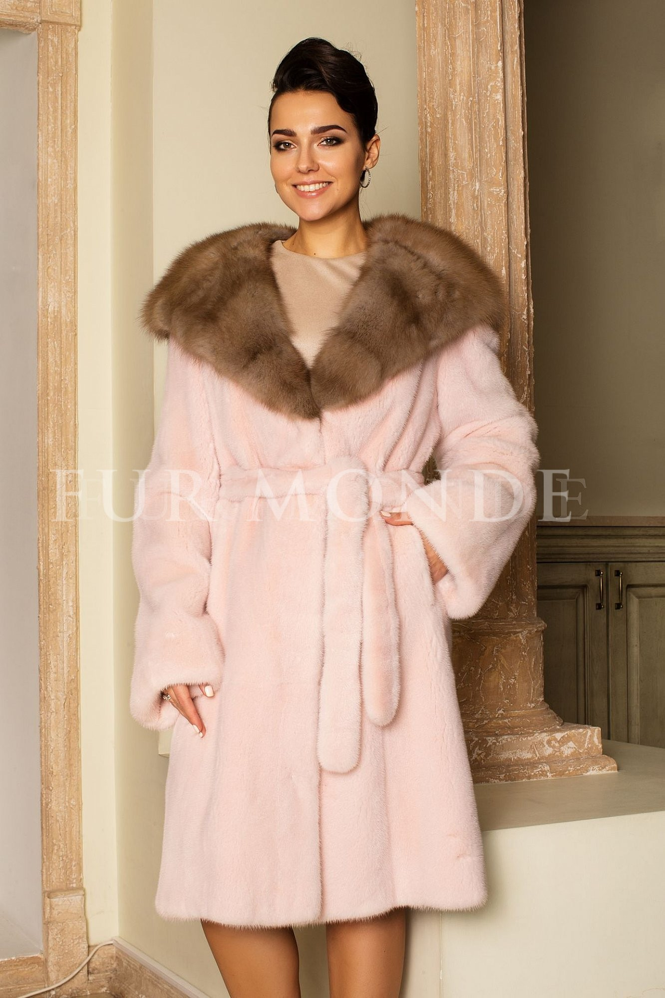 Норковая шуба 105 см цвет фламинго 14458