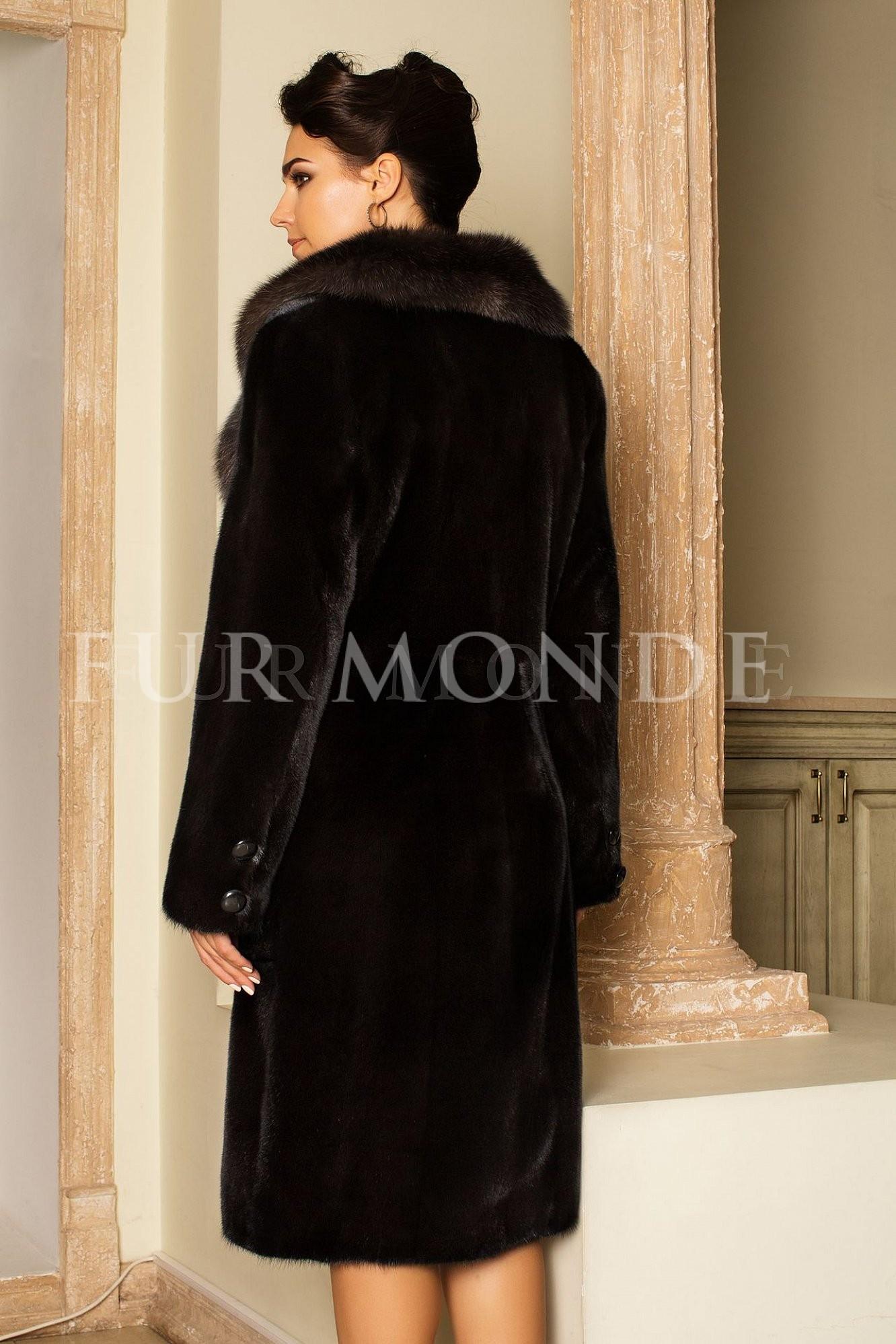 Норковая шуба 110 см черная 14525