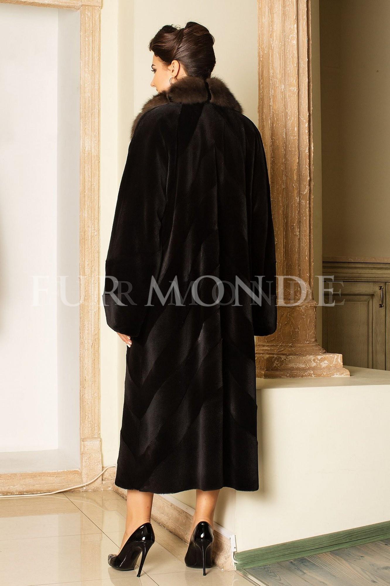 Норковая шуба 120 см черная 13292