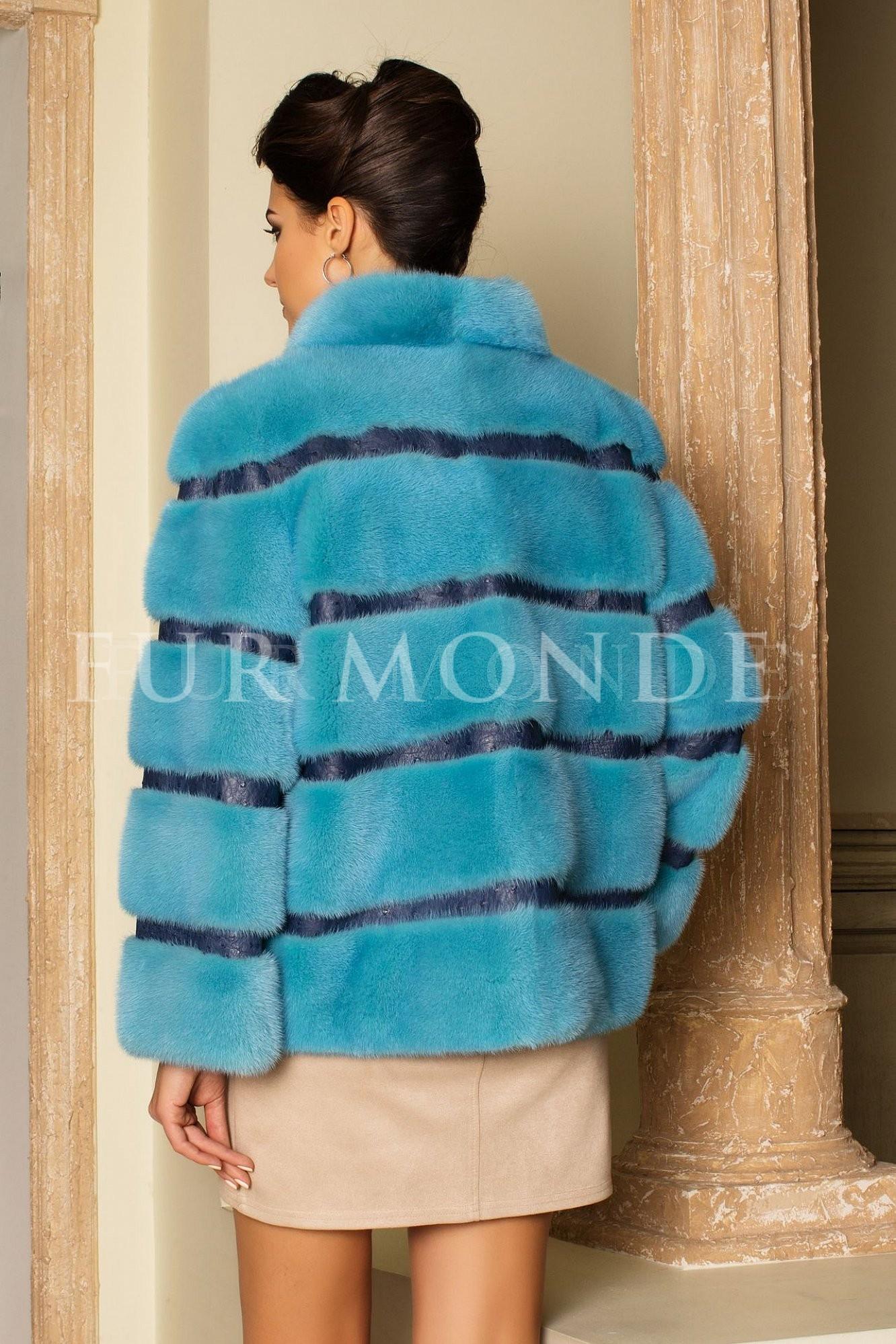 Норковая шуба 65 см голубая 14447