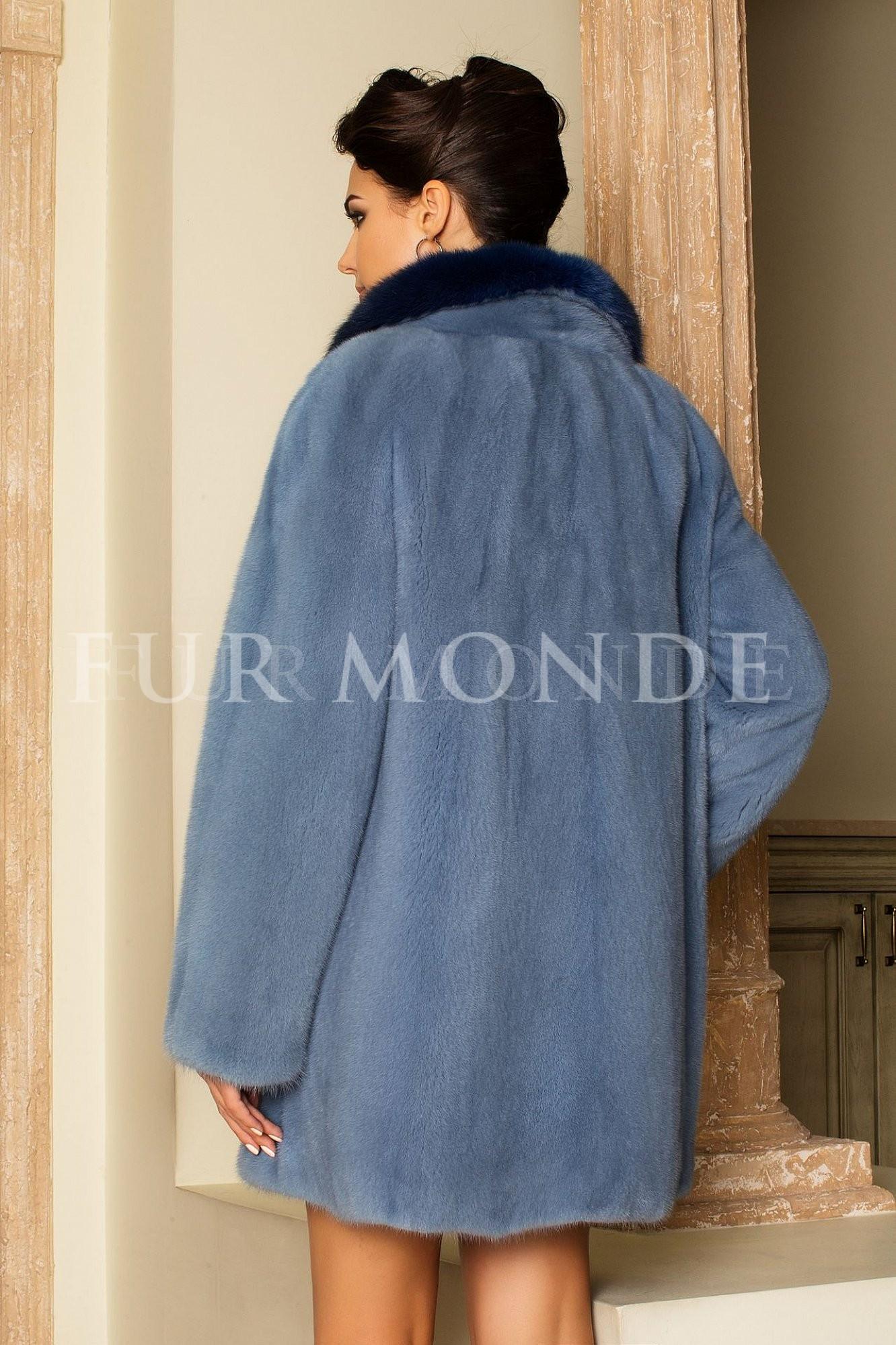 Норковая шуба 80 см голубая 14501