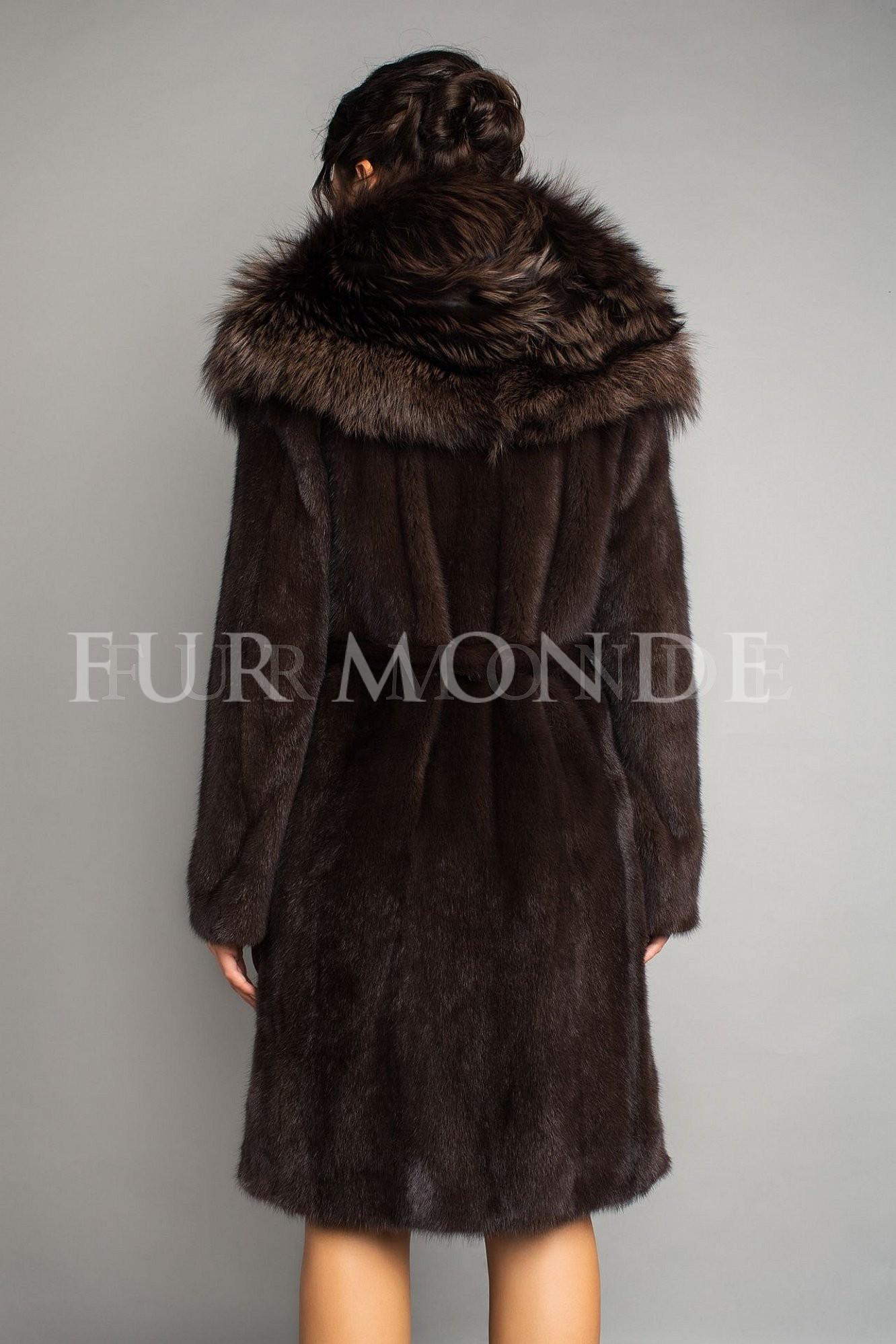 Норковая шуба темно-коричневая 1187