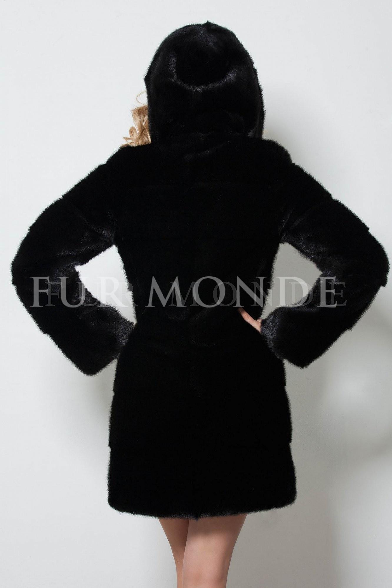 Черная норковая шуба с капюшоном1203