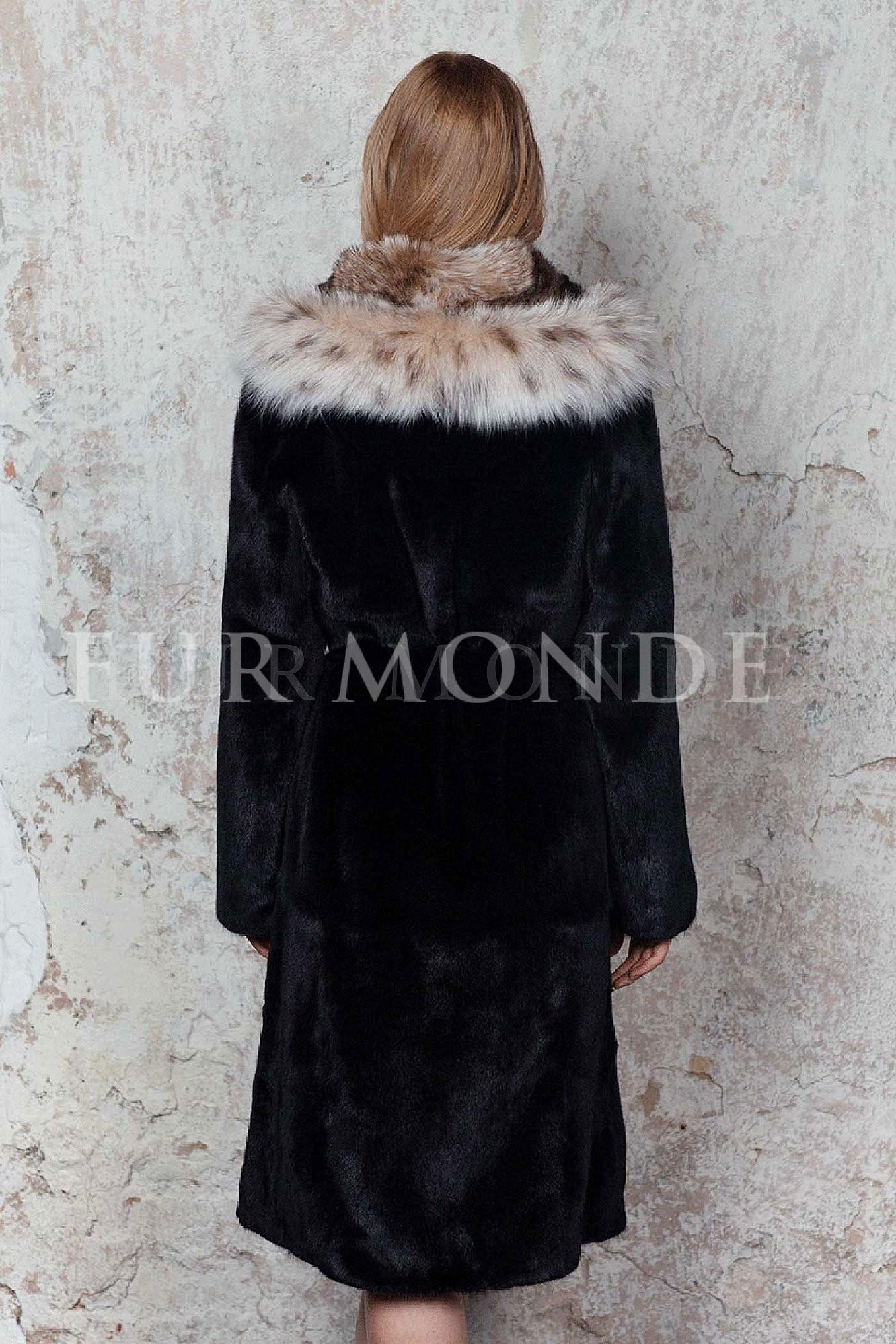 Норковая шуба с капюшоном из меха рыси 1164