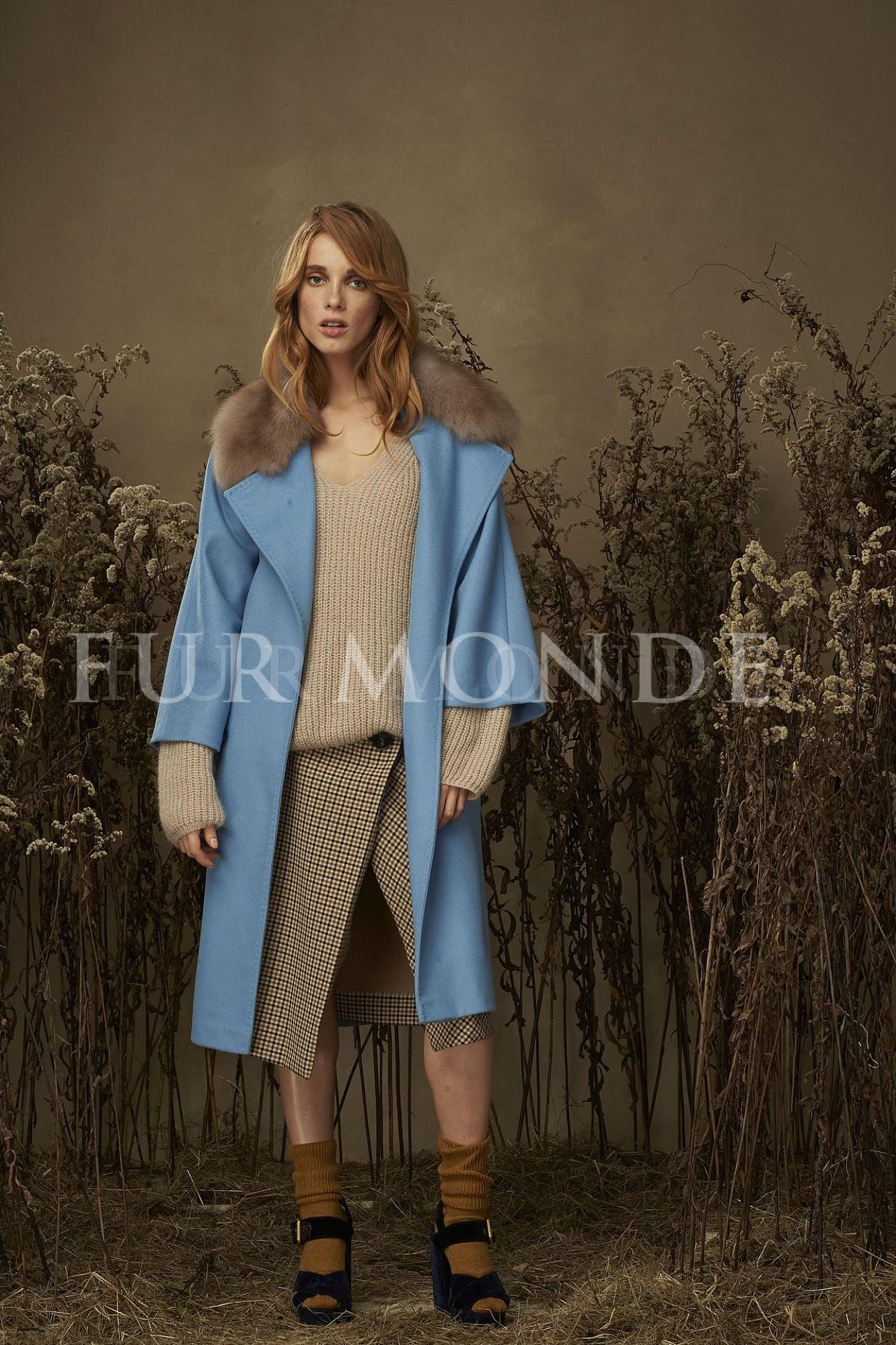 Кашемировое пальто с мехом куницы 355241