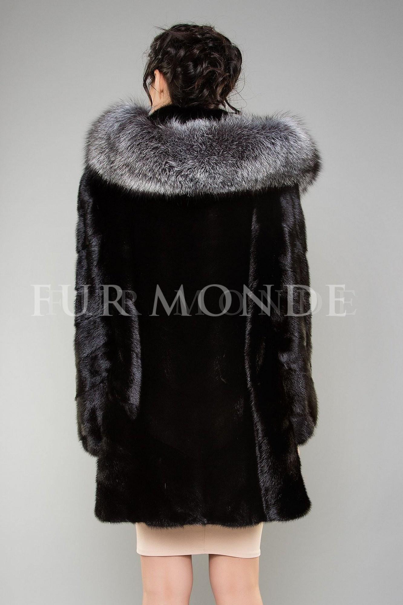 Норковая шуба с капюшоном из чернобурки черная 1178