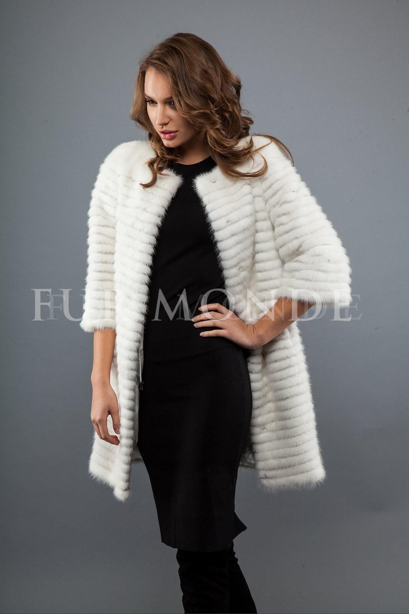Пальто из меха норки 80 см белая 725-230