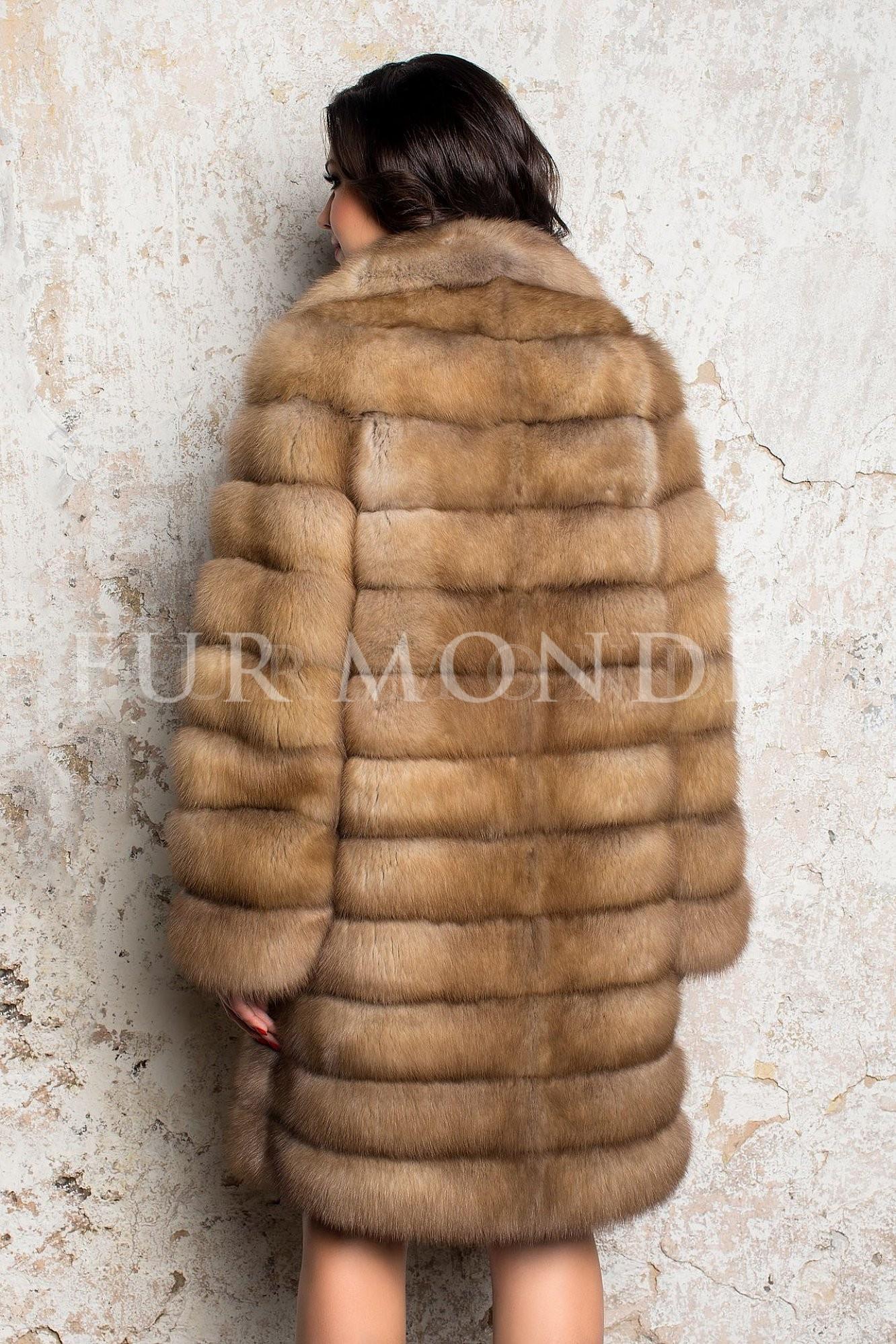 Шуба из меха куницы 90 см воротник английский 3057