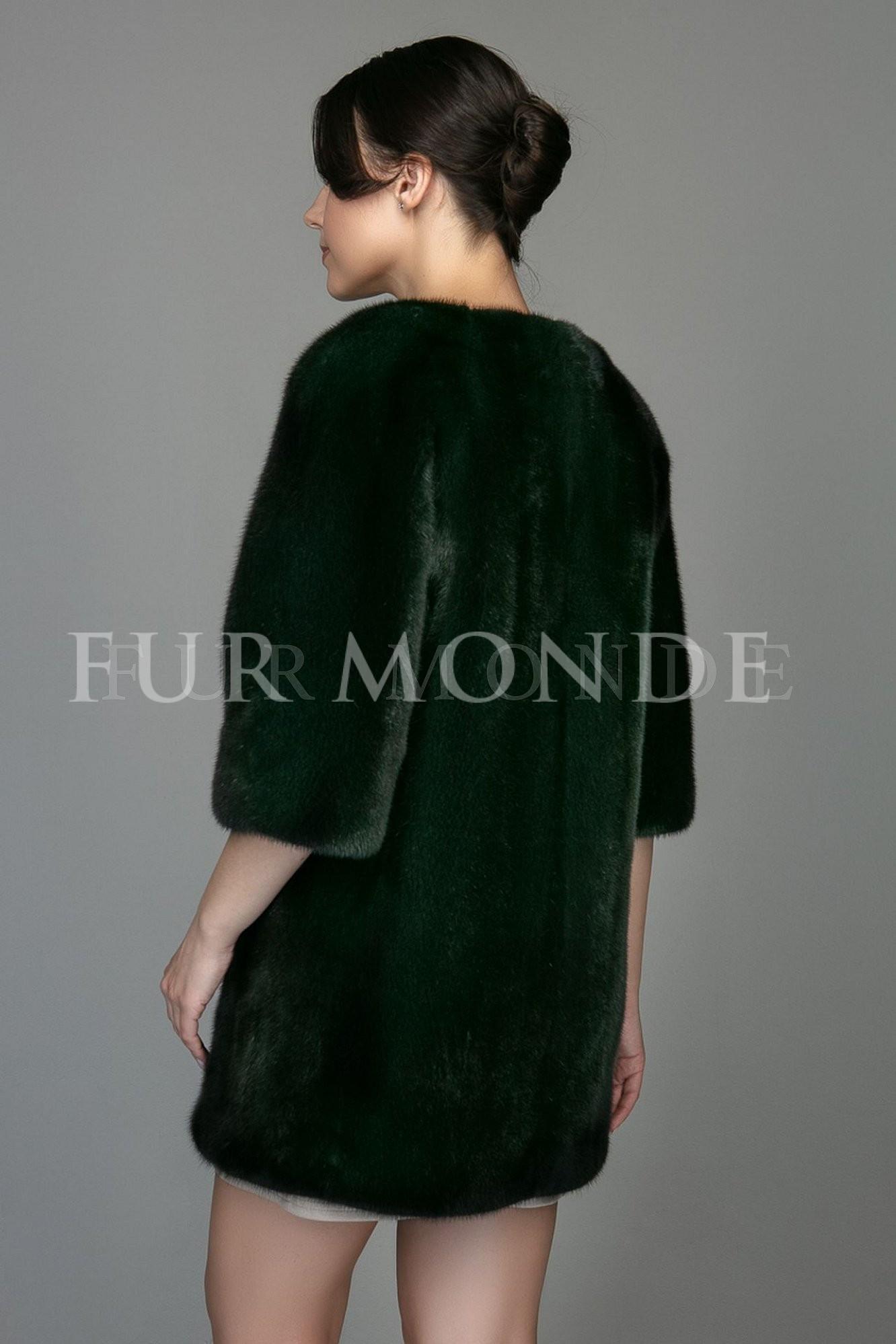 Норковая шуба без ворота темно-зеленого цвета 1106