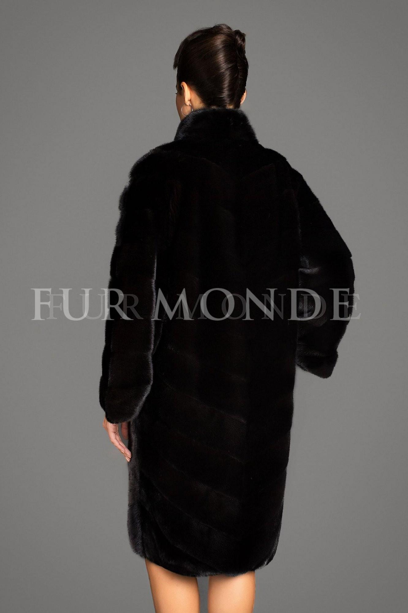 Норковая шуба 100 см черная мех Black Nafa 46.43