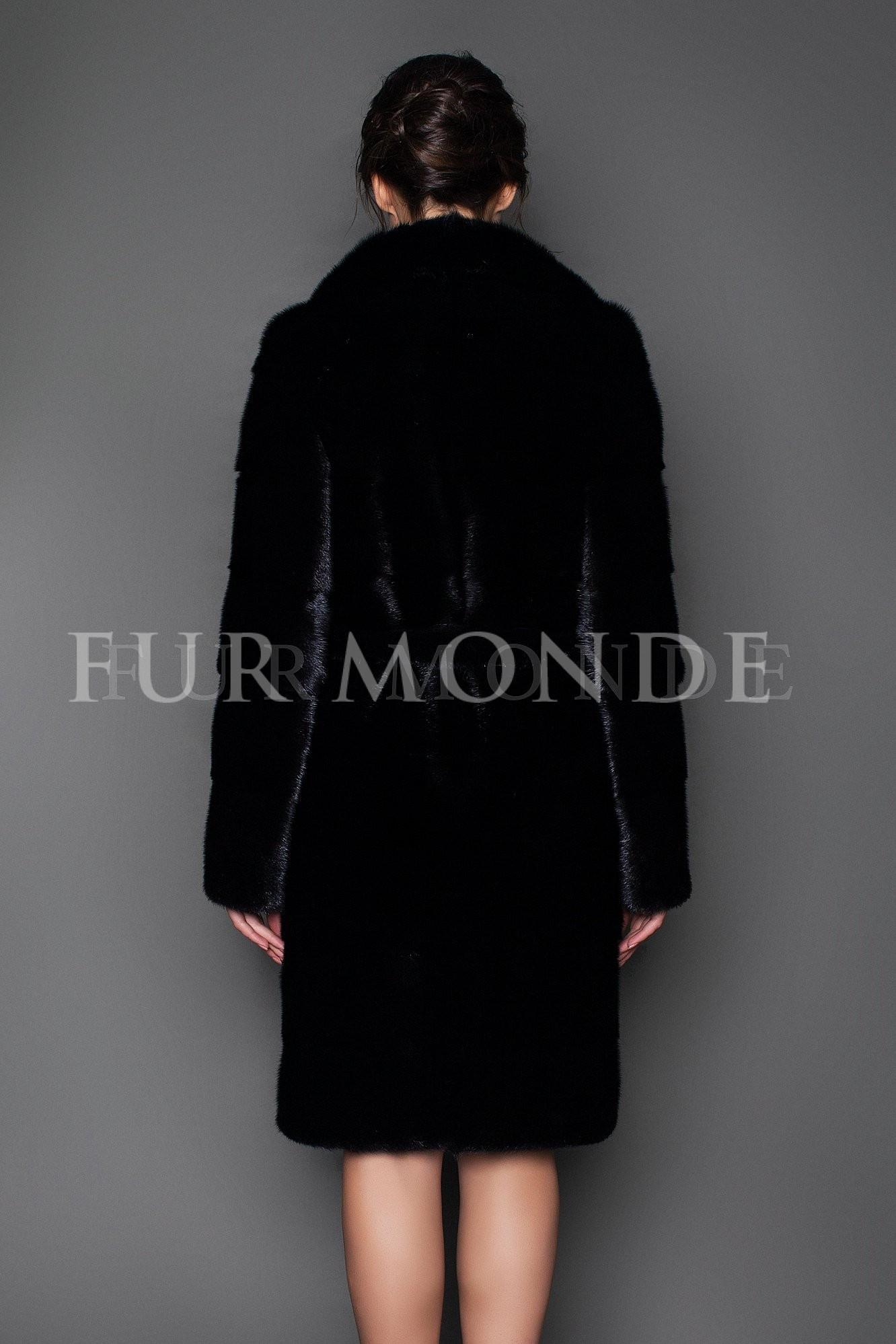 Норковая шуба 100 см черная с английским воротником 1021