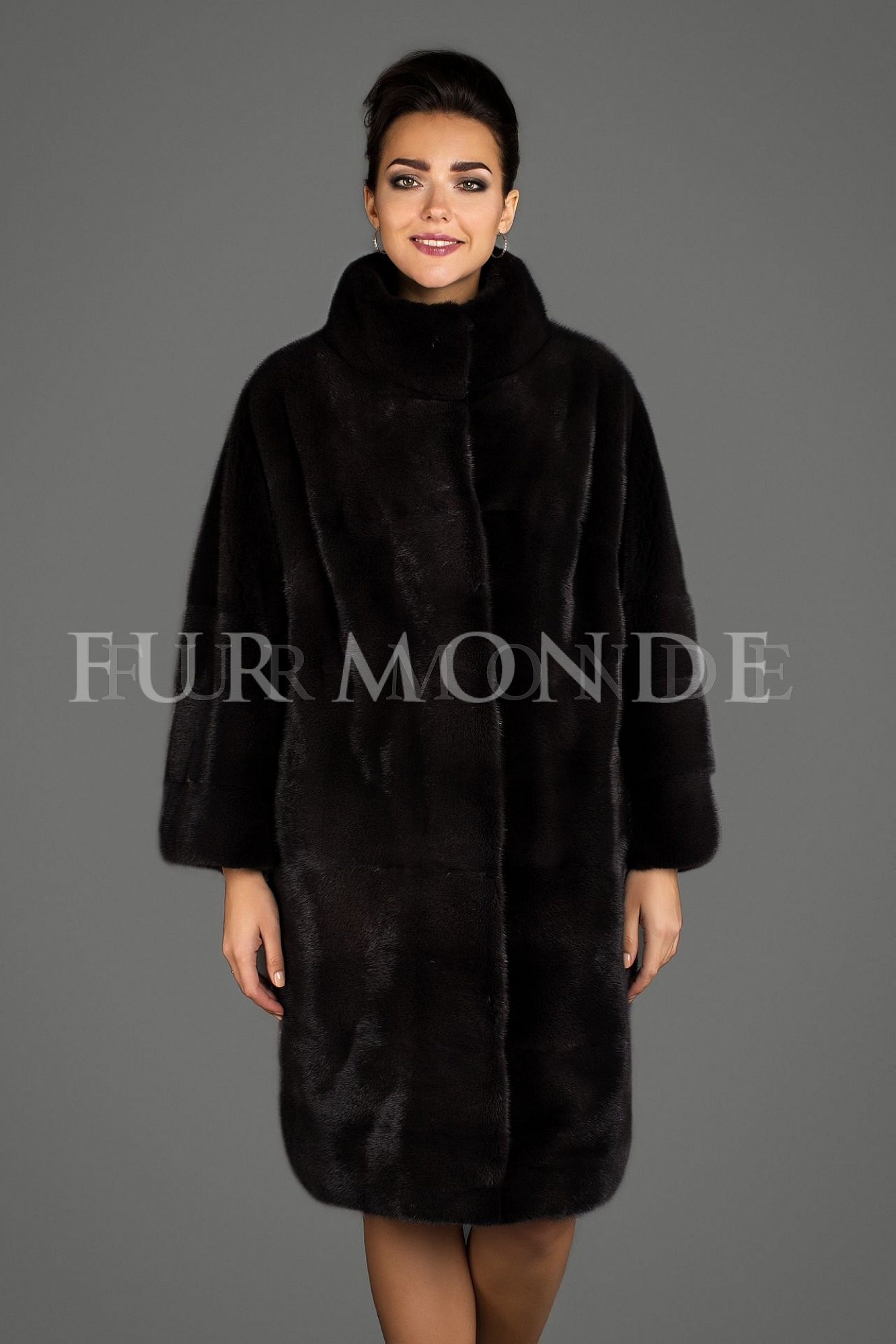 Норковая шуба 90 см черная мех Black Nafa B7.4