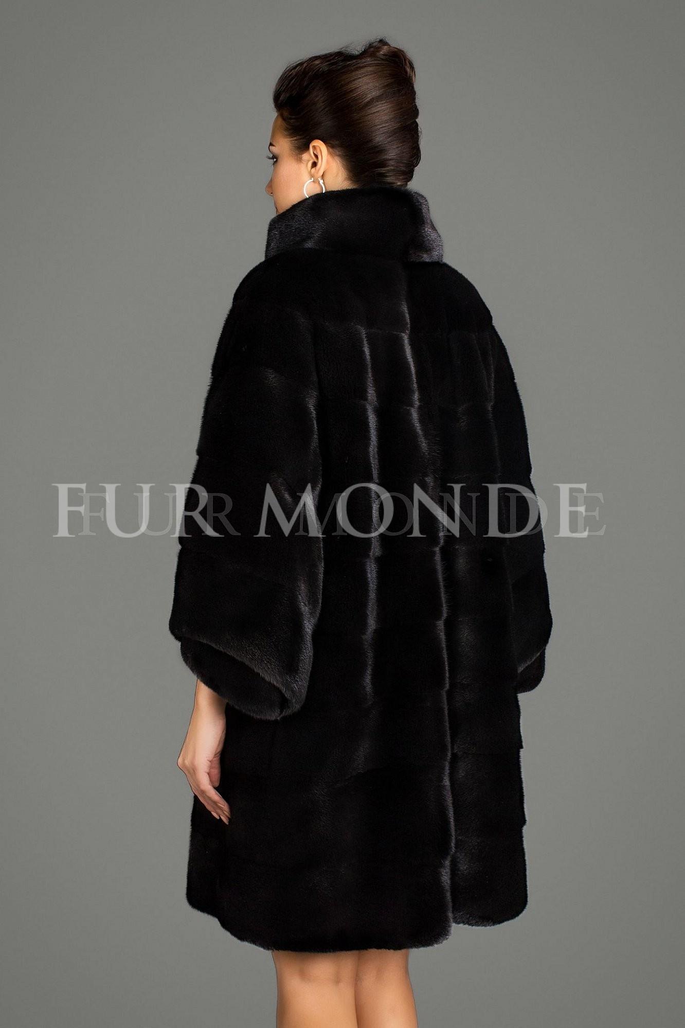 Норковая шуба 90 см черная мех Black Nafa воротник стойка B17.14