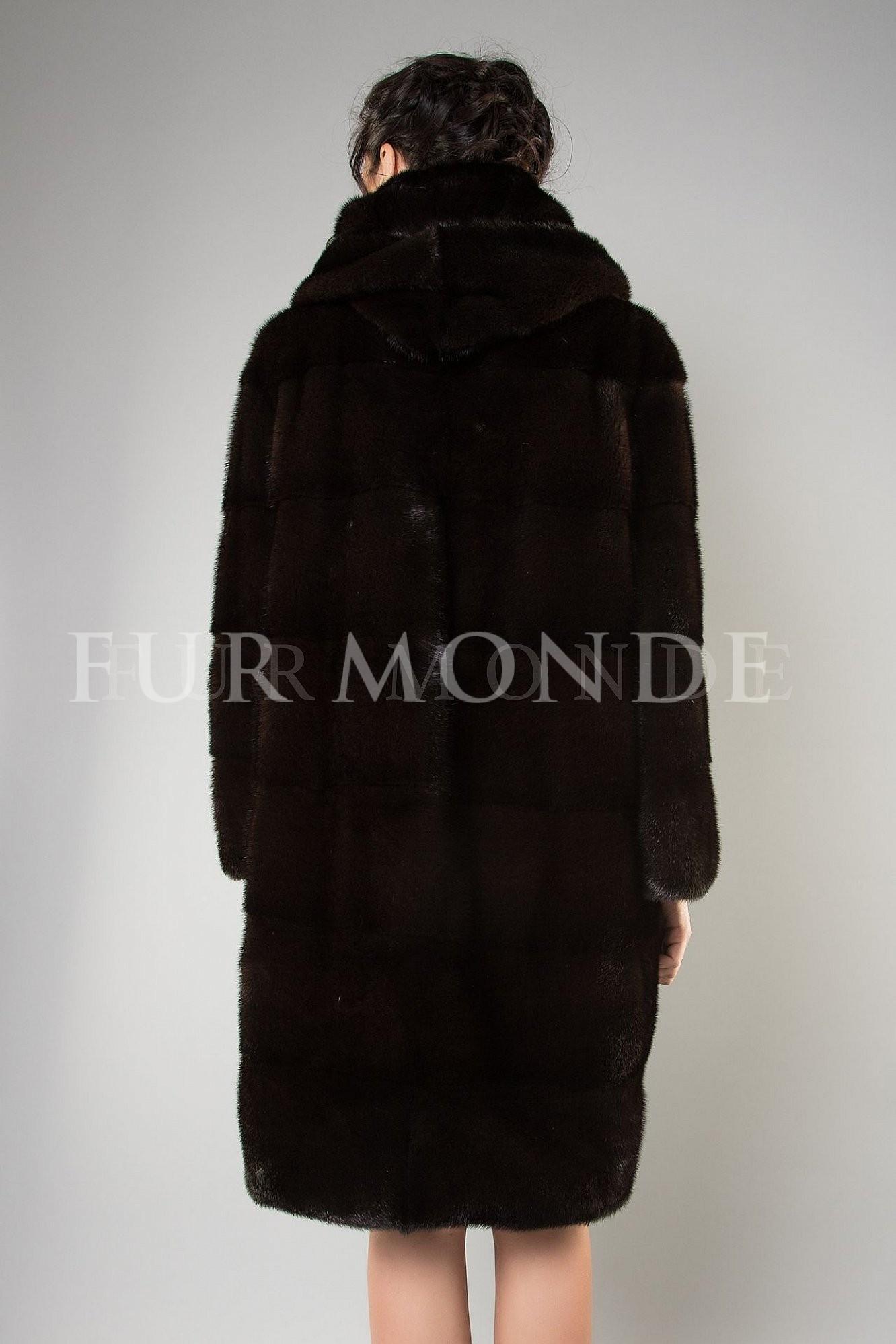 Норковая шуба с капюшоном 100 см темно-коричневая 1128