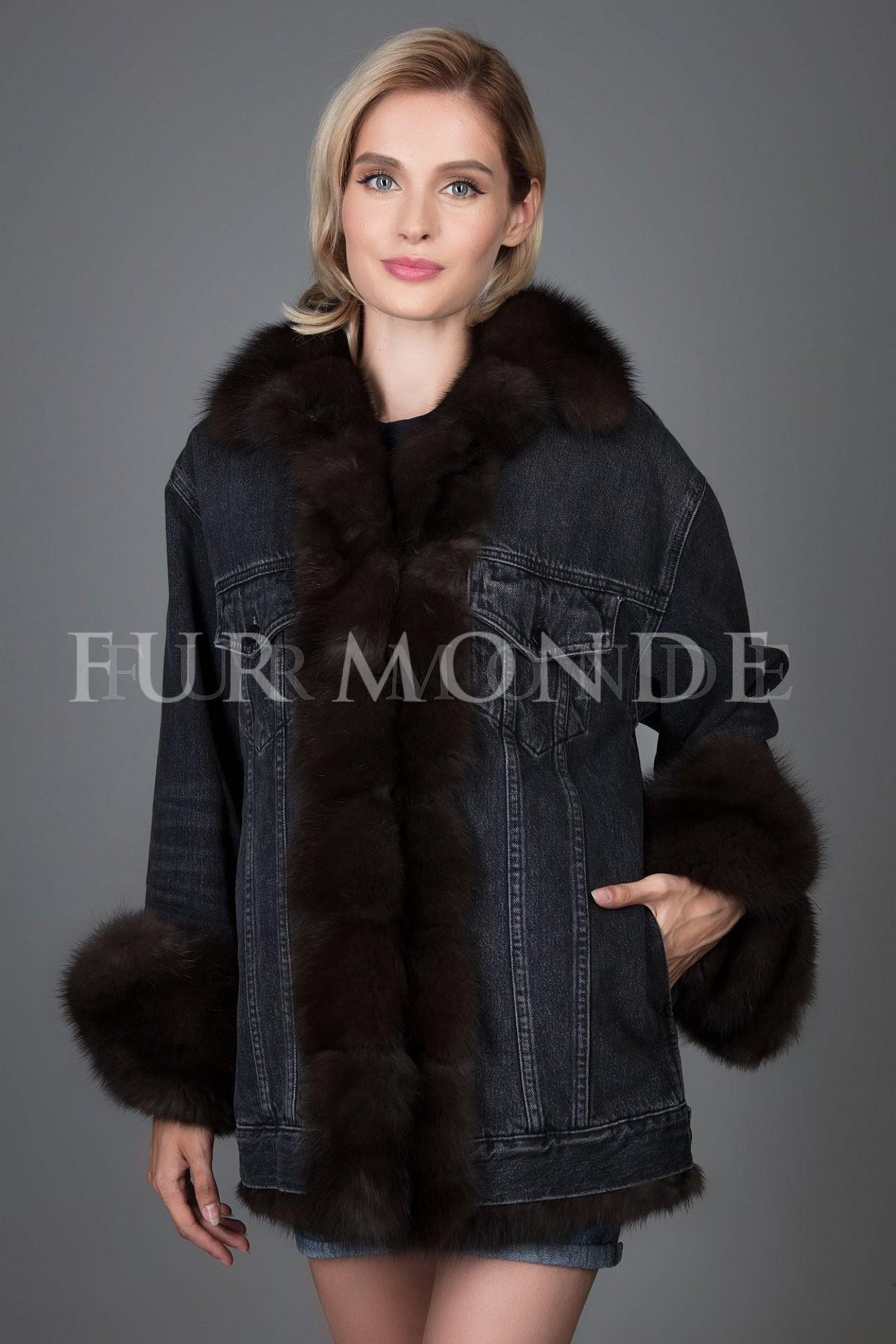 Джинсовая куртка с мехом куницы 359809