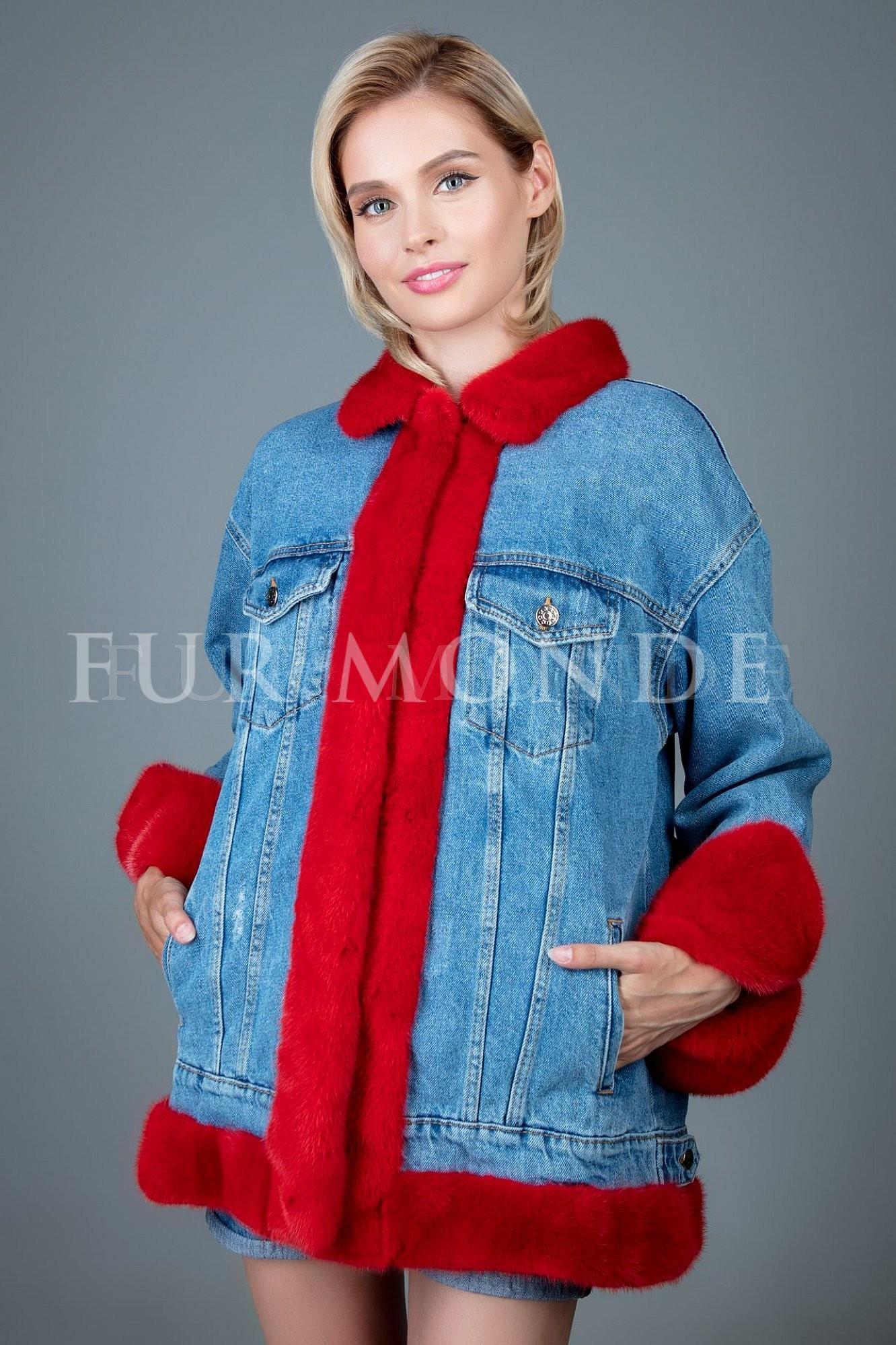 Джинсовая куртка с мехом норки 340189