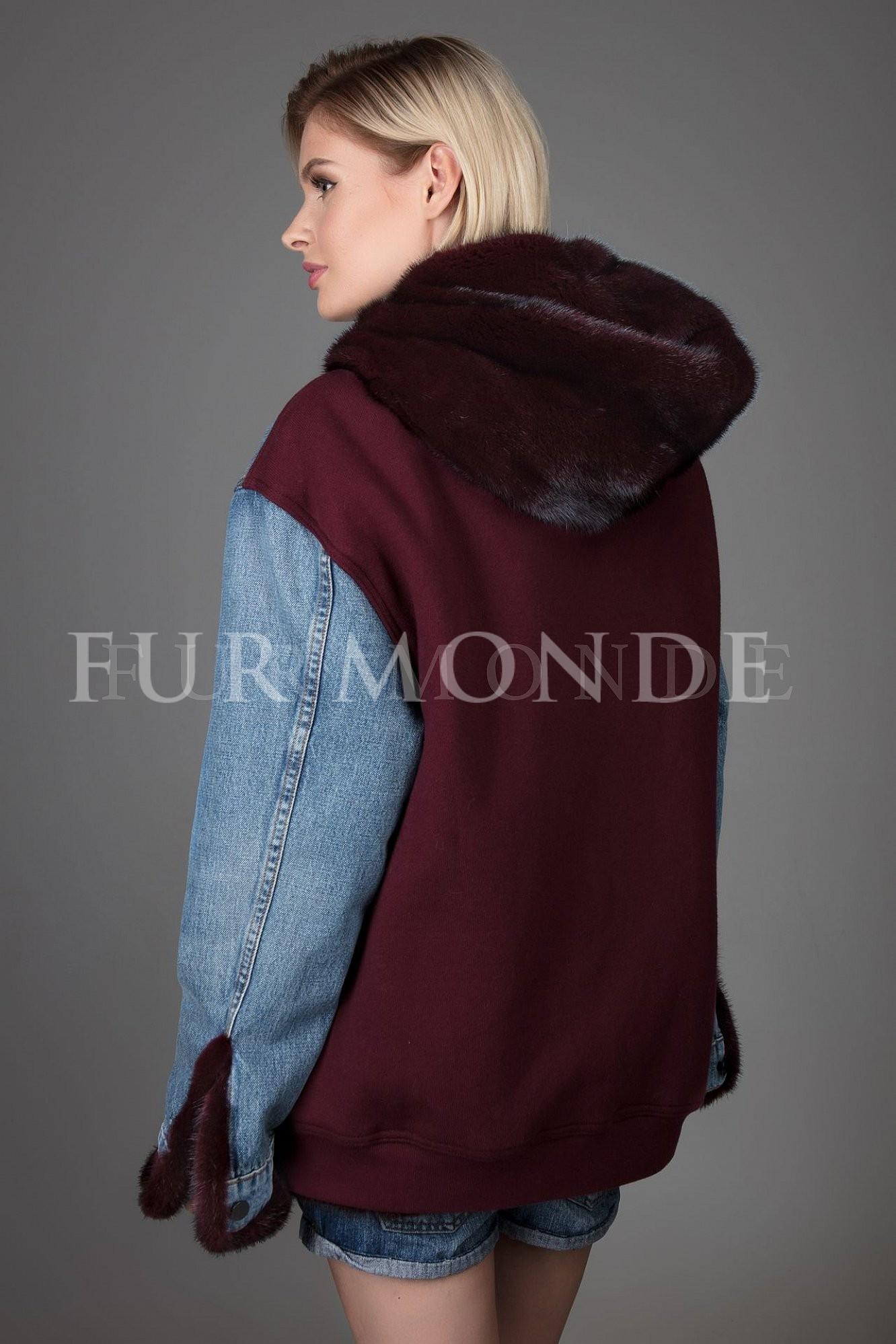 Джинсовая куртка с мехом норки 344166