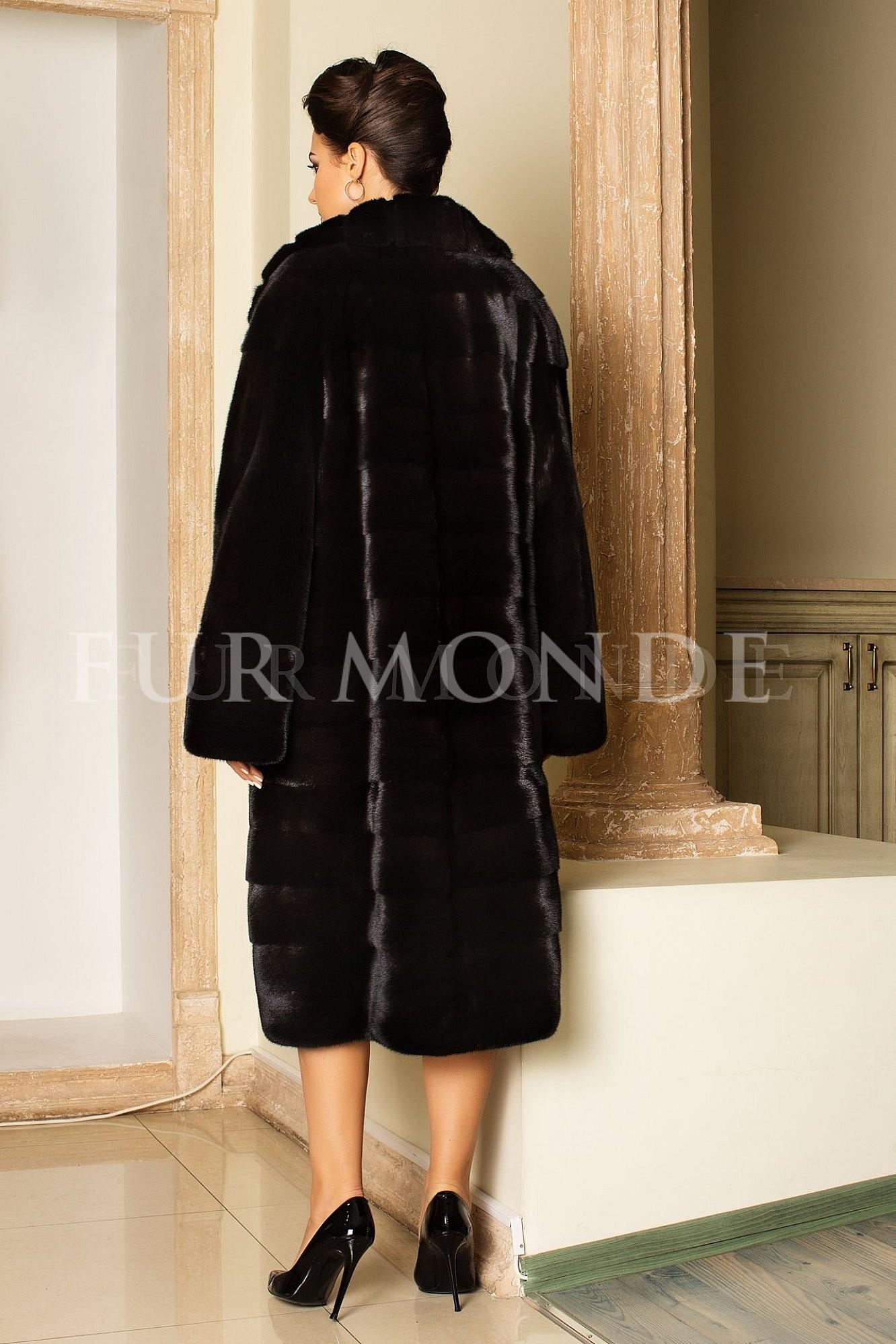Норковая шуба 110 см черная мех Nafa Mink 2013441fk