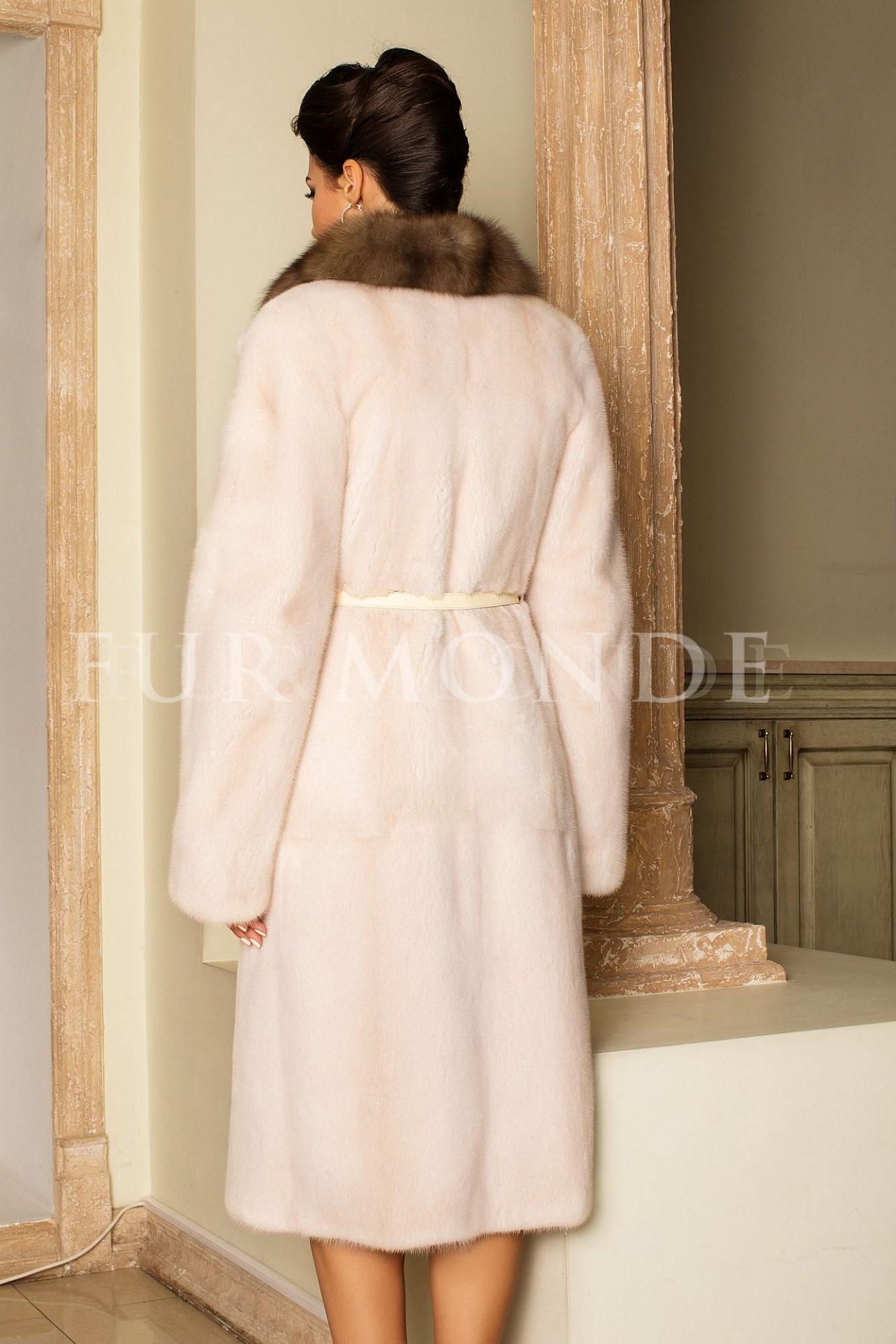 Норковая шуба 110 см жемчуг мех Kopenhagen Furs 14152