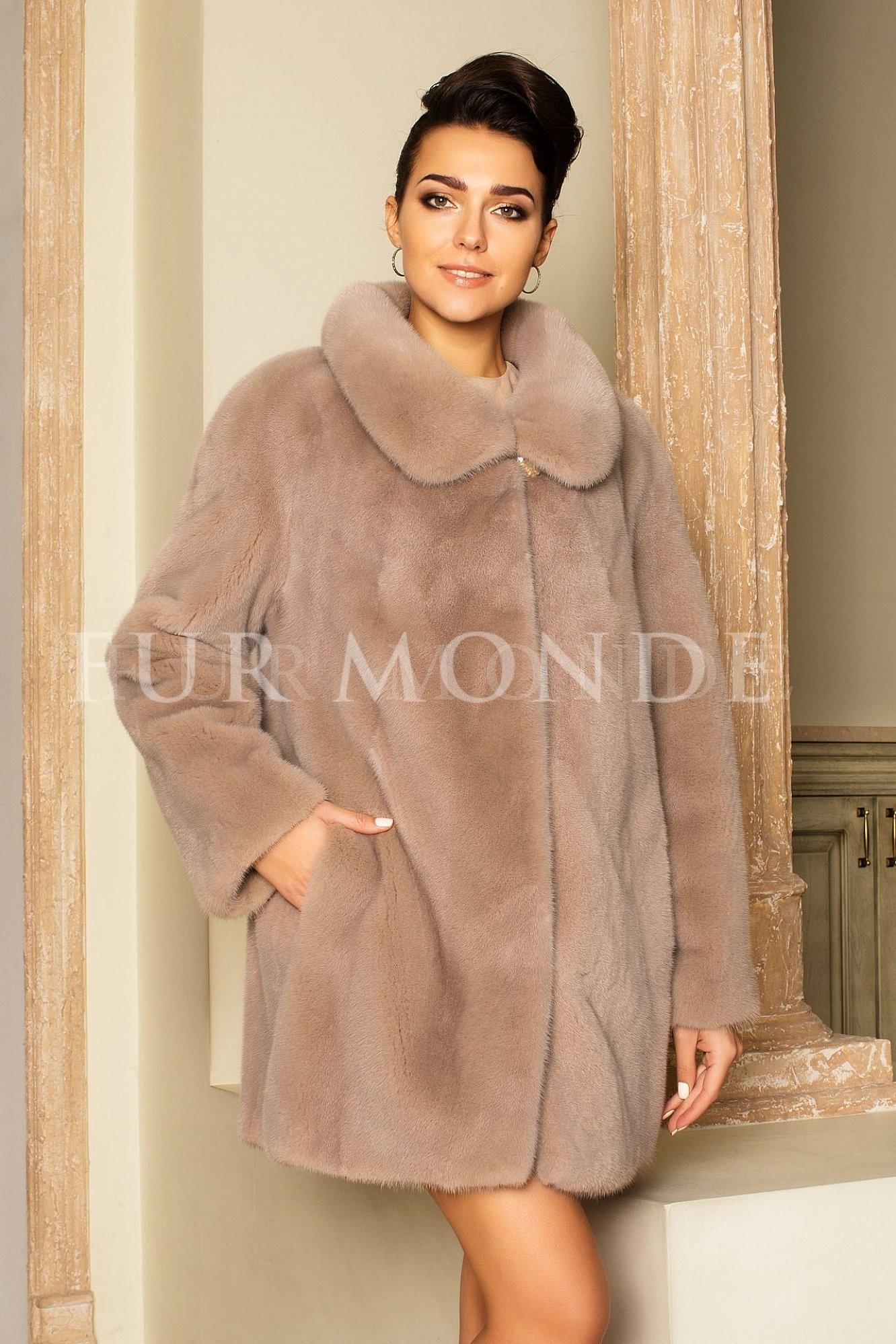 Норковая шуба 80 см бежевая мех Kopenhagen Furs 14533