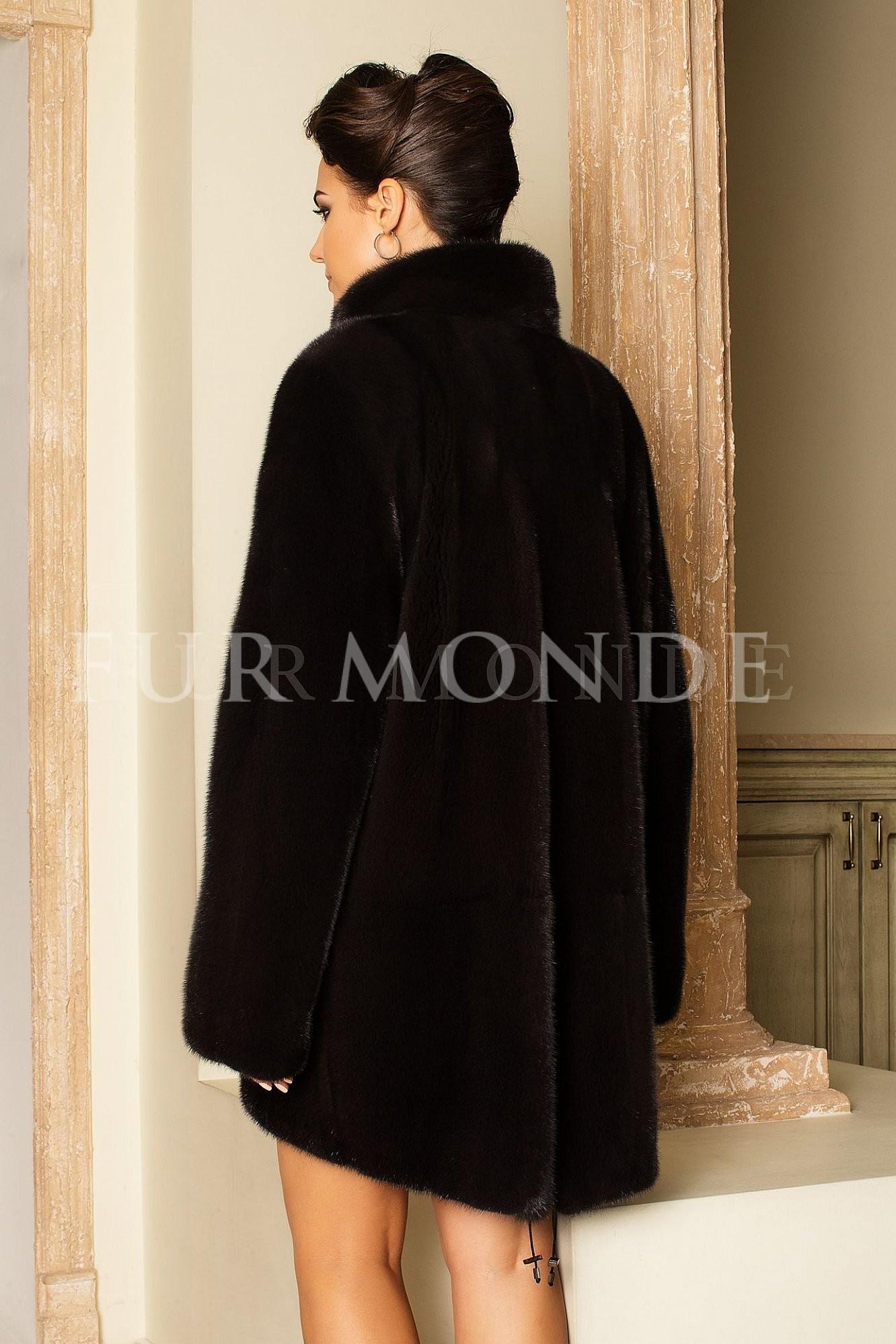 Норковая шуба 85 см черная 14442