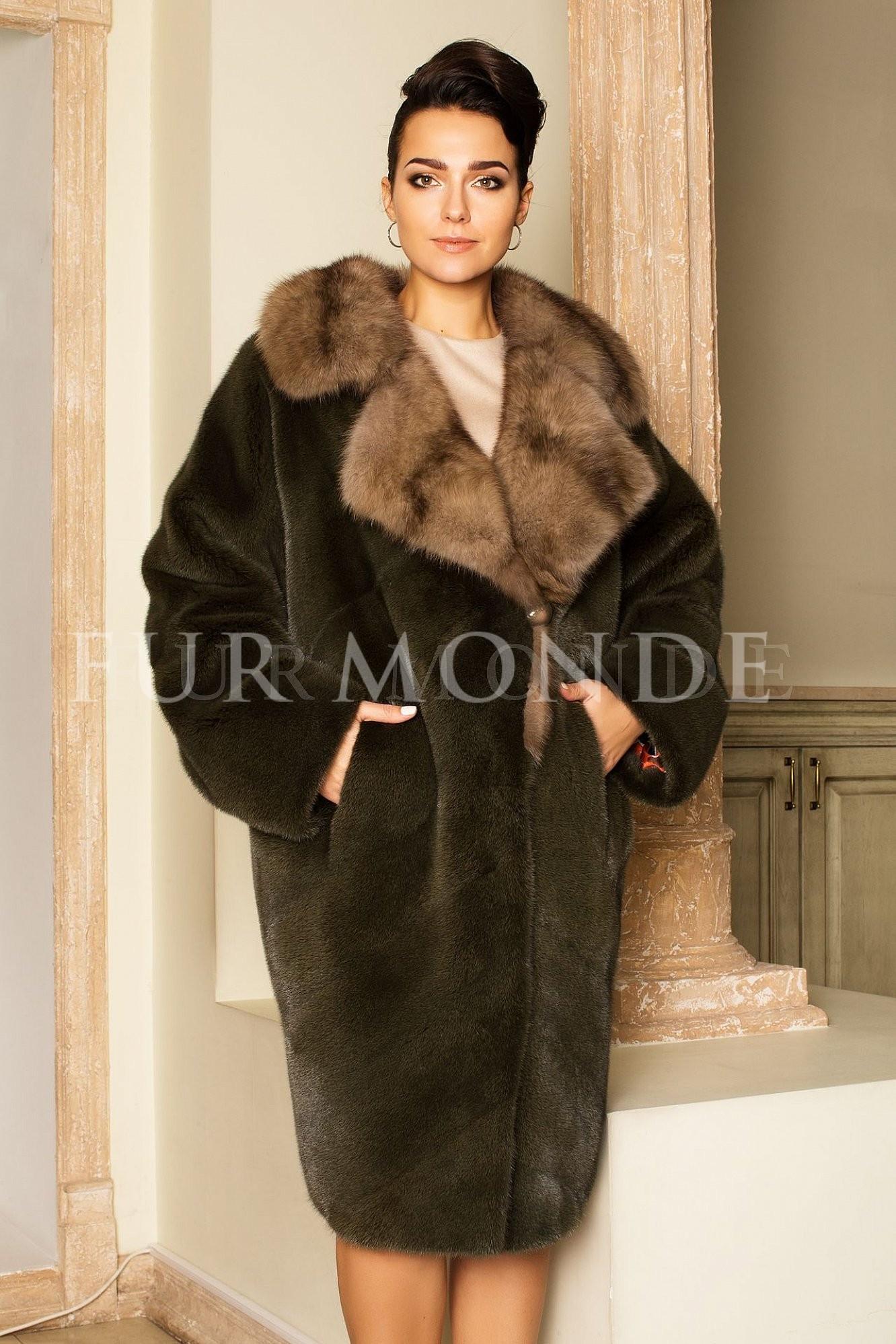 Норковая шуба из меха Kopenhagen Furs с соболем 14541